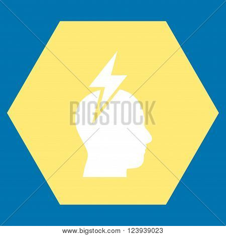Headache vector icon. Image style is bicolor flat headache iconic symbol drawn on a hexagon with yellow and white colors.