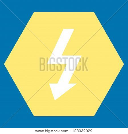 High Voltage vector symbol. Image style is bicolor flat high voltage pictogram symbol drawn on a hexagon with yellow and white colors.