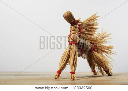 traditional Russian toy horse of the bast on neutral background