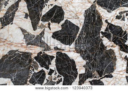 Closeup abstract stone background texture photo of Gabbro pegmatite rock with natural grunge black and white crystals patterns