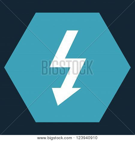 High Voltage vector symbol. Image style is bicolor flat high voltage pictogram symbol drawn on a hexagon with blue and white colors.