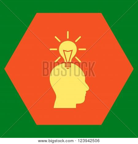 Genius Bulb vector pictogram. Image style is bicolor flat genius bulb pictogram symbol drawn on a hexagon with orange and yellow colors.