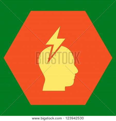 Headache vector icon. Image style is bicolor flat headache icon symbol drawn on a hexagon with orange and yellow colors.