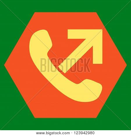 Outgoing Call vector icon symbol. Image style is bicolor flat outgoing call icon symbol drawn on a hexagon with orange and yellow colors.