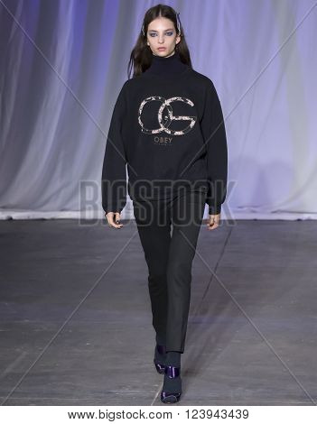 New York, NY - February 13, 2016: Sophie Jones walks the runway at rehearsal for  Jill Stuart show during NYFW F/W 2016