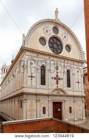 Church Santa Maria dei Miracoli or Marble church in the sestiere of Cannaregio at morning, in Venice.