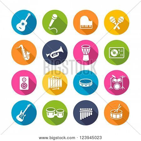 Collection of musical instruments icons. Can be used on print materials or on websites with subjects related to music, dance, singing, concerts or playing musical instruments. Flat design style.