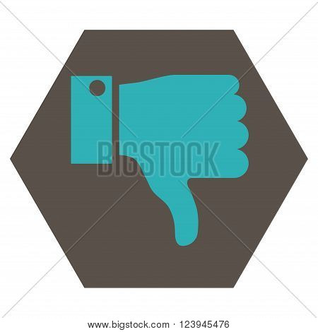 Thumb Down vector icon symbol. Image style is bicolor flat thumb down iconic symbol drawn on a hexagon with grey and cyan colors.