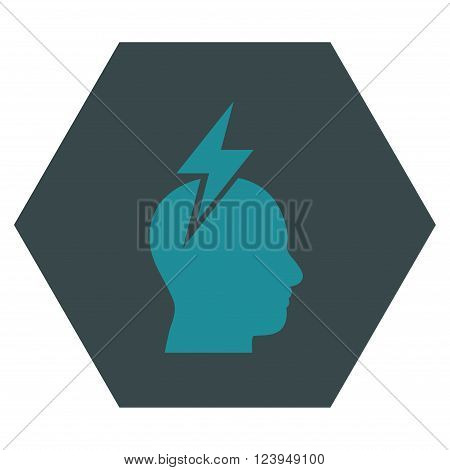 Headache vector pictogram. Image style is bicolor flat headache iconic symbol drawn on a hexagon with soft blue colors.