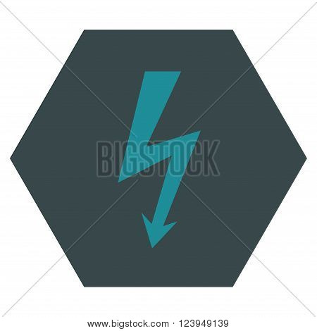 High Voltage vector icon. Image style is bicolor flat high voltage icon symbol drawn on a hexagon with soft blue colors.