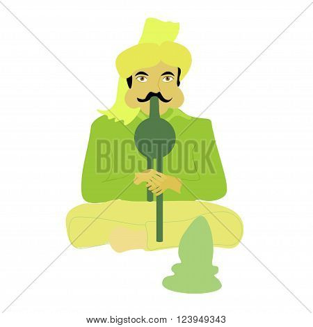 snake charmer vector illustration of sitting resident Indian with a musical instrument
