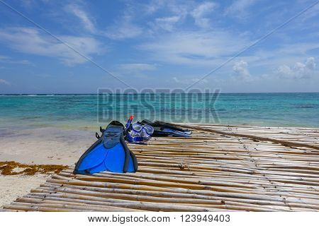 Picture of snorkeling gear on resort beach at Mayan Riviera in Mexico.