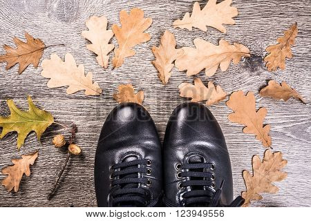 Men's shoes for autumn on rustic wooden background with wethered autumn leaves. Blue boots on the ground.
