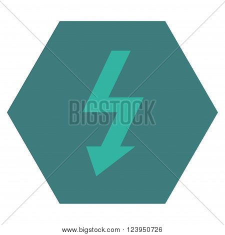 High Voltage vector icon. Image style is bicolor flat high voltage icon symbol drawn on a hexagon with cobalt and cyan colors.