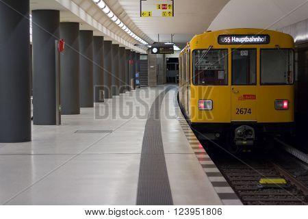 Berlin, Germany - march 30, 2016: Underground train (U-Bahn) at train station Brandenburger Tor (Brandenburg Gate) in Berlin, Germany