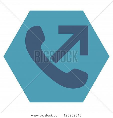 Outgoing Call vector icon. Image style is bicolor flat outgoing call icon symbol drawn on a hexagon with cyan and blue colors.