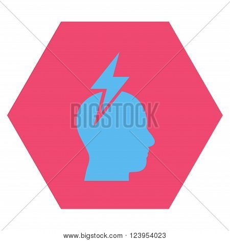 Headache vector icon. Image style is bicolor flat headache iconic symbol drawn on a hexagon with pink and blue colors.