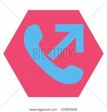 Outgoing Call vector pictogram. Image style is bicolor flat outgoing call iconic symbol drawn on a hexagon with pink and blue colors.