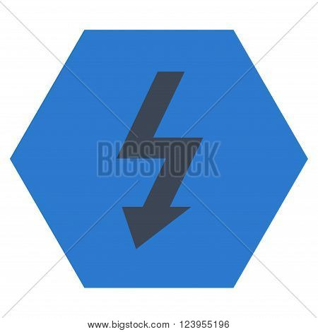 High Voltage vector symbol. Image style is bicolor flat high voltage pictogram symbol drawn on a hexagon with smooth blue colors.