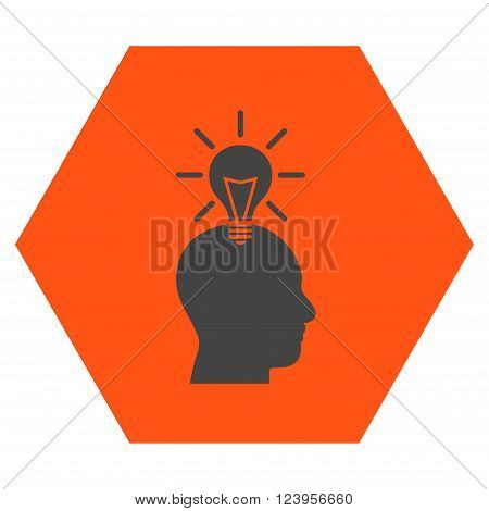 Genius Bulb vector pictogram. Image style is bicolor flat genius bulb icon symbol drawn on a hexagon with orange and gray colors.