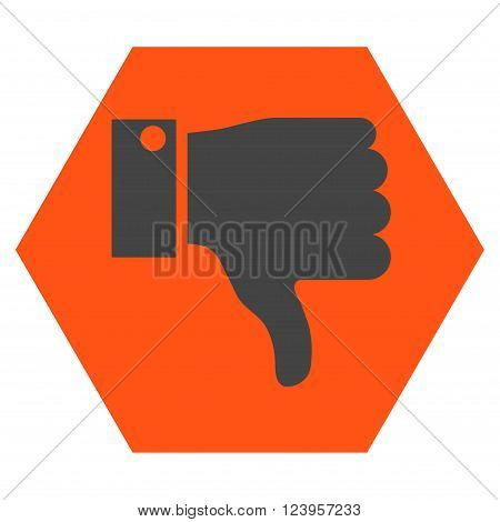 Thumb Down vector icon symbol. Image style is bicolor flat thumb down icon symbol drawn on a hexagon with orange and gray colors.