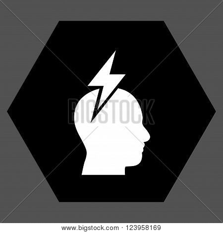Headache vector pictogram. Image style is bicolor flat headache iconic symbol drawn on a hexagon with black and white colors.