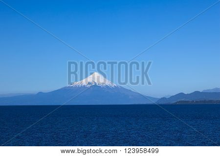 Osorno volcano and Llanquihue lake photographed from Puerto Varas, Chile