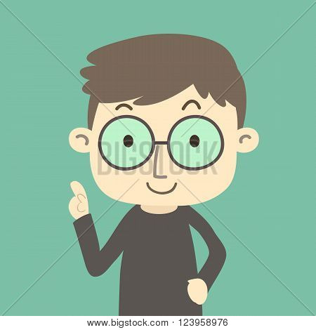 Boy wearing glasses, cartoon character on green background