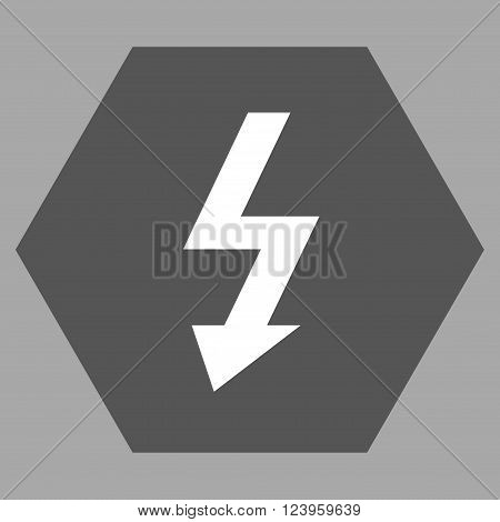 High Voltage vector symbol. Image style is bicolor flat high voltage pictogram symbol drawn on a hexagon with dark gray and white colors.