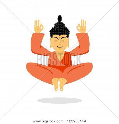 Buddha Meditating. Buddha On White Background. Indian God Buddha Isolated. Status Of Nirvana And Enl
