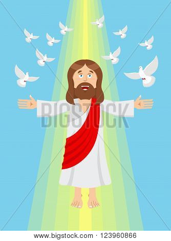 Jesus and pigeons. Ascension of Jesus Christ. Son of God in heaven. Resurrection. Bible character. Yellow divine ray of light