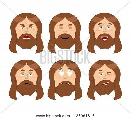 Jesus Emotions. Set expressions Picture of Jesus Christ. Son of God is good. Holy man was angry. Religious character discouraged and cheerful. Saviour in Christianity and Catholicism
