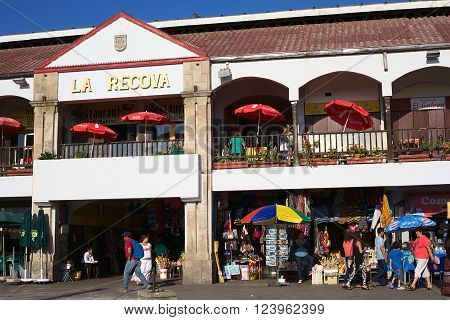 LA SERENA, CHILE - FEBRUARY 27, 2015: Unidentified people walking around La Recova municipal market in the city center on February 27, 2015 in La Serena, Chile. La Recova houses mainly artisan shops and restaurants.
