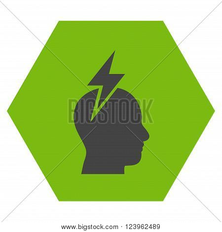 Headache vector icon symbol. Image style is bicolor flat headache pictogram symbol drawn on a hexagon with eco green and gray colors.