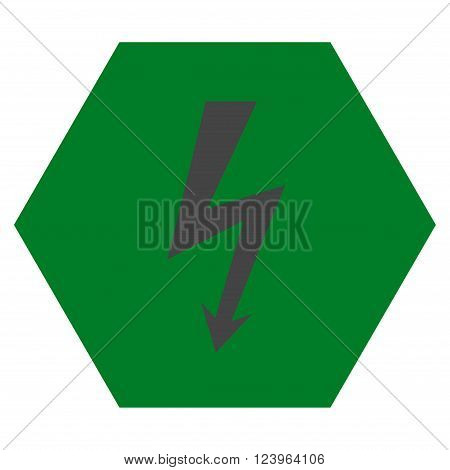 High Voltage vector symbol. Image style is bicolor flat high voltage pictogram symbol drawn on a hexagon with green and gray colors.