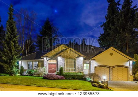 House at night in Vancouver, Canada.