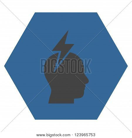 Headache vector icon symbol. Image style is bicolor flat headache icon symbol drawn on a hexagon with cobalt and gray colors.