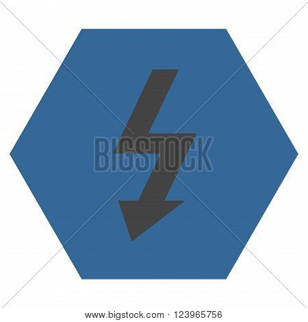 High Voltage vector symbol. Image style is bicolor flat high voltage pictogram symbol drawn on a hexagon with cobalt and gray colors.