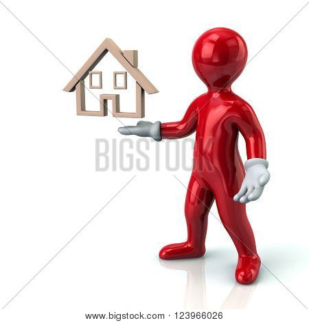 Cartoon Character Red Man Presenting House