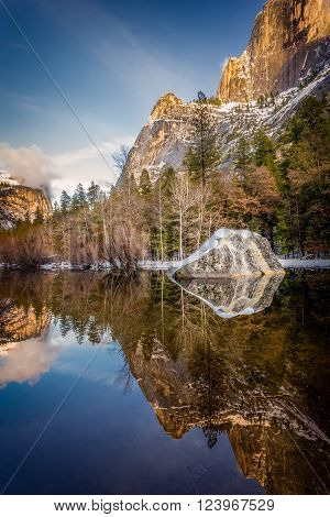 mirror lake at sunset in Yosemite National Park