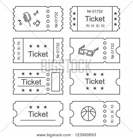 Ticket icon in the outline style. Ticket vector illustration. Ticket stub isolated on a background. Retro cinema tickets. Tickets concept icon. Movie ticket icon. Illustration old tickets. poster