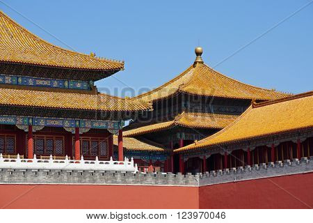 Traditional roofs of the Forbidden City (the Palace Museum) in Beijing, China