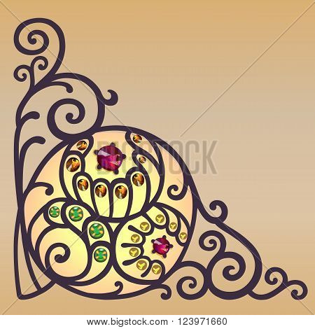 Gemstones golden filigree corner background vector illustration