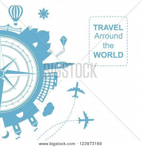 Famouse places. Travel arround the world vector illustration. Travelling by plane, airplane trip in various country.  Flat icon modern design style poster. Travel banner. Wind rose Travel agency round icon.