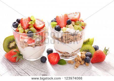 muesli and fruits