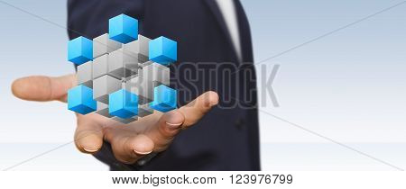Businessman In His Office Using Digital Interface