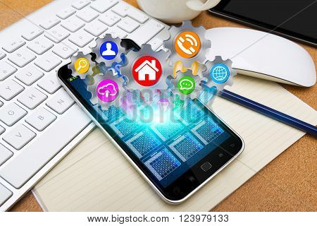 Modern Mobile Phone With Cogwheels Icons