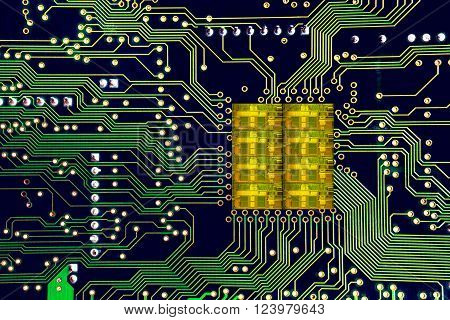 Close-up On A Cpu Microchip On A Scheme