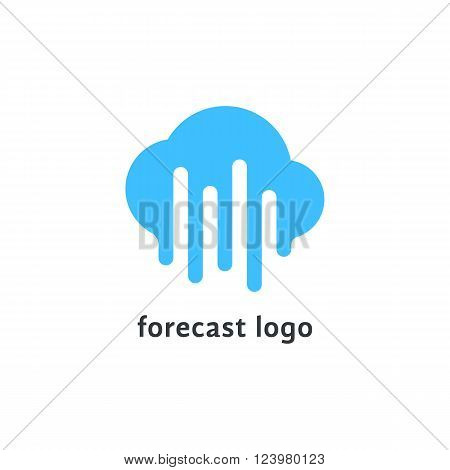 forecast logo with melted blue cloud. concept of daily forecasting, company brand, tv program, weather today. isolated on white background. flat style trendy modern branding design vector illustration