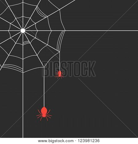 white cobweb with red spiders. concept of arachnophobia, arachnology, all hallows eve, gothic decoration postcards. isolated on black background. flat style trendy modern design vector illustration
